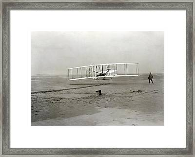 The Wright Brothers' First Powered Framed Print by Science Photo Library