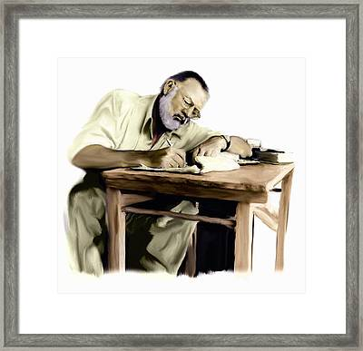 The Writer  Ernest Hemingway Framed Print by Iconic Images Art Gallery David Pucciarelli