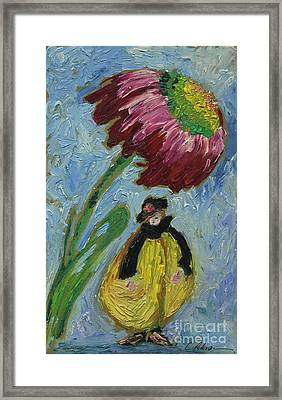 The Yellow Jacket Nymph Waiting Under A Cornflower.  Framed Print by Cathy Peterson