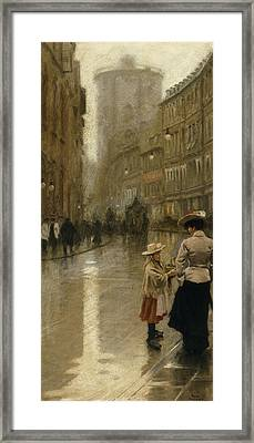 The Young Flower Vendor Framed Print by Paul Fischer