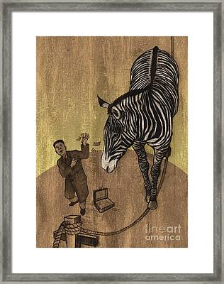 The Zebra Framed Print by Dirk Dzimirsky