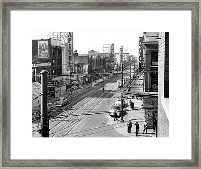 Theater Row - Vancouver Canada - 1951 Framed Print by Daniel Hagerman