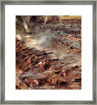 Their Men Advanced In Dense Masses Framed Print by Cyrus Cuneo