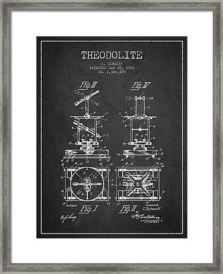 Theodolite Patent From 1921- Charcoal Framed Print by Aged Pixel