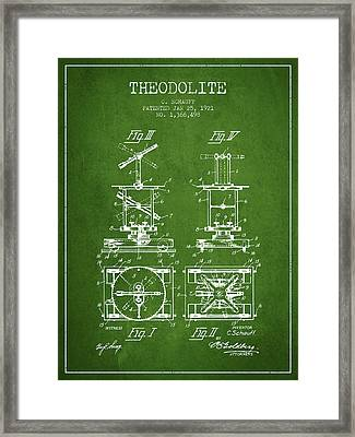 Theodolite Patent From 1921- Green Framed Print by Aged Pixel