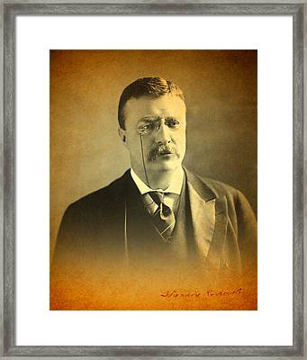 Theodore Teddy Roosevelt Portrait And Signature Framed Print by Design Turnpike