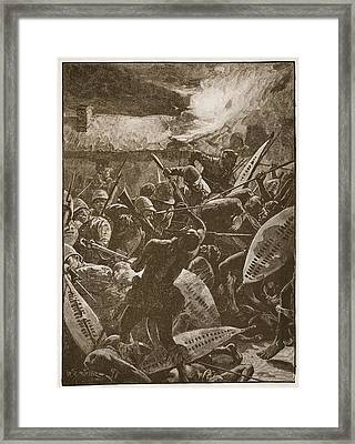 There Was A Hand-to-hand Struggle Framed Print by William Barnes Wollen