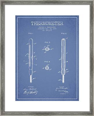 Thermometer Patent From 1898 - Light Blue Framed Print by Aged Pixel