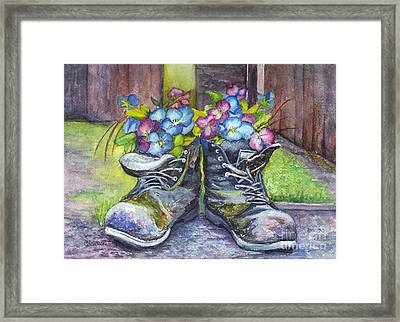 These Boots Were Made For Planting Framed Print by Carol Wisniewski