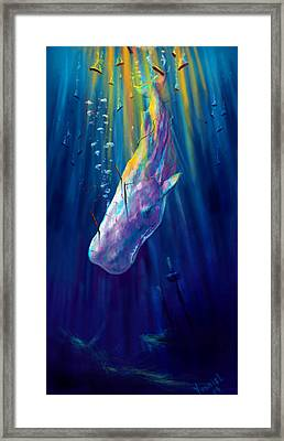 Thew White Whale Framed Print by Yusniel Santos