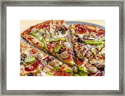 Thin Crust Supreme Pizza Framed Print by Teri Virbickis