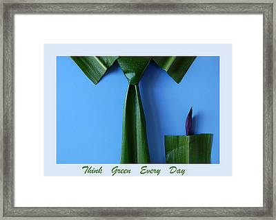 Think Green Everyday Framed Print by George Olney
