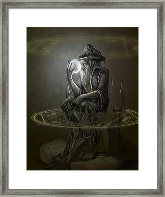 Thinker Wizard Framed Print by Rob Carlos