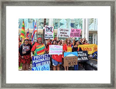 Thirty Meter Telescope Protest Framed Print by Babak Tafreshi