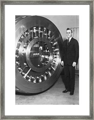 Thirty Ton Bank Vault Door Framed Print by Underwood Archives