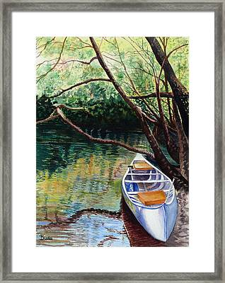 This Canoe Is Waiting For You Framed Print by Susan Duda