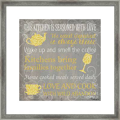 This Kitchen Is Seasoned With Love Framed Print by Debbie DeWitt