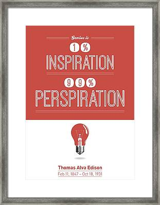 Thomas Alva Edison Quote Typography Print Poster Framed Print by Lab No 4 - The Quotography Department