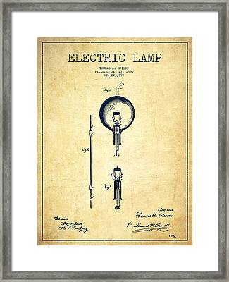Thomas Edison Electric Lamp Patent From 1880 - Vintage Framed Print by Aged Pixel