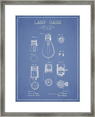 Thomas Edison Lamp Base Patent From 1890 - Light Blue Framed Print by Aged Pixel