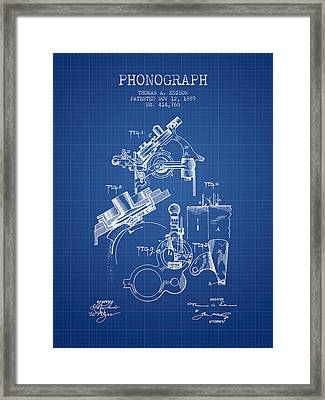 Thomas Edison Phonograph Patent From 1889 - Blueprint Framed Print by Aged Pixel