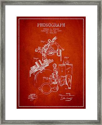Thomas Edison Phonograph Patent From 1889 - Red Framed Print by Aged Pixel