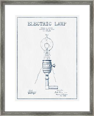 Thomas Edison Vintage Electric Lamp Patent From 1882  - Blue Ink Framed Print by Aged Pixel