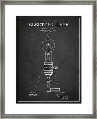 Thomas Edison Vintage Electric Lamp Patent From 1882 - Dark Framed Print by Aged Pixel