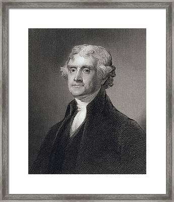 Thomas Jefferson Framed Print by Gilbert Stuart