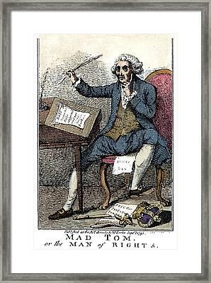Thomas Paine Cartoon, 1791 Framed Print by Granger