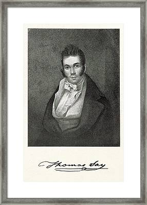 Thomas Say Framed Print by Miriam And Ira D. Wallach Division Of Art, Prints And Photographs/new York Public Library