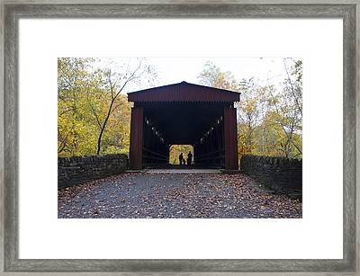 Thomas's Covered Bridge - Family Walk Framed Print by Bill Cannon