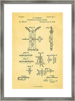 Thomson Electric Welding Patent Art 1886 Framed Print by Ian Monk