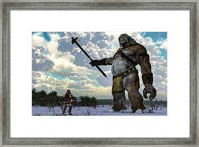 Thor And The Frost Giant Framed Print by Daniel Eskridge