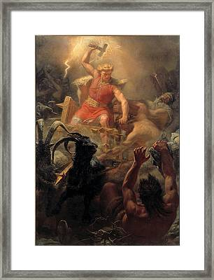 Thors Fight With The Giants Framed Print by Marten Eskil Winge