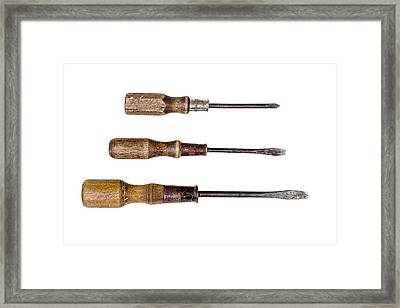 Three Antique Screwdrivers Framed Print by Donald  Erickson