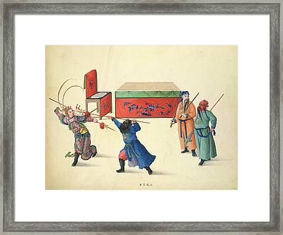 Three Battles Against Lu Pu Framed Print by British Library