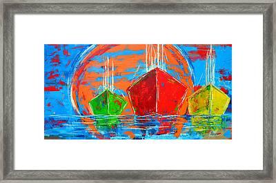 Three Boats Sailing In The Ocean Framed Print by Patricia Awapara