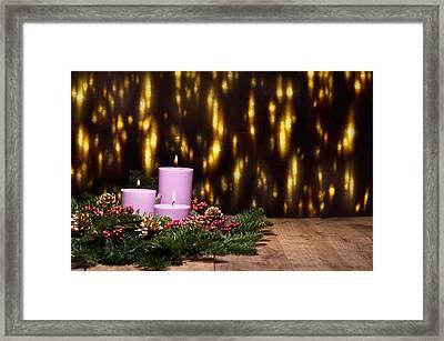 Three Candles In An Advent Flower Arrangement Framed Print by Ulrich Schade