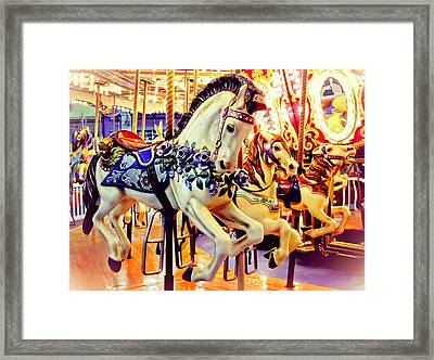 Three Carousel Ponies Framed Print by Colleen Kammerer