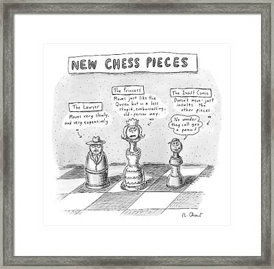 Three Chess Pieces Are Seen On A Chess Board Framed Print by Roz Chast