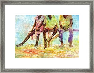 Three Children Of Ghana Framed Print by Hailey E Herrera
