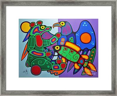 Three Clans Meet Framed Print by Jim Oskineegish