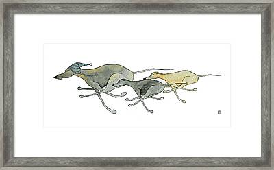 Three Dogs Illustration Framed Print by Richard Williamson