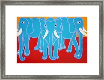 Three Elephants Framed Print by Matthew Brzostoski