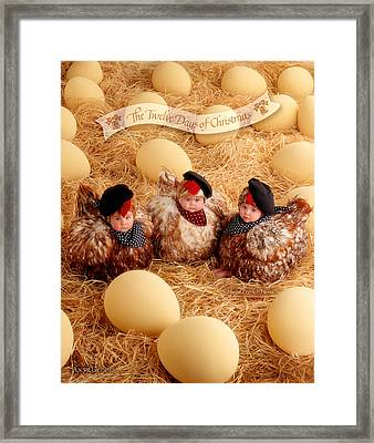 Three French Hens Framed Print by Anne Geddes