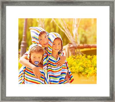 Three Funny Child Framed Print by Anna Om