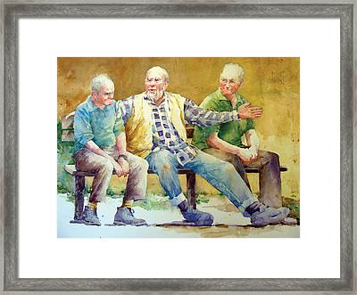 Three Guys On A Bench Framed Print by Janet Flom