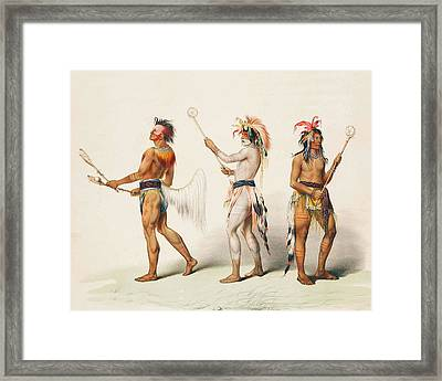 Three Indians Playing Lacrosse Framed Print by Unknown