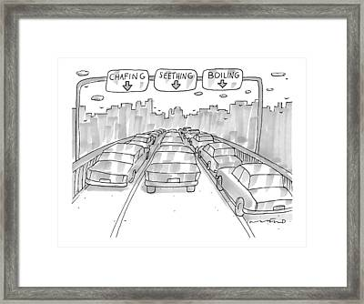 Three Jammed Traffic Lanes On A Bridge Have Signs Framed Print by Michael Crawford